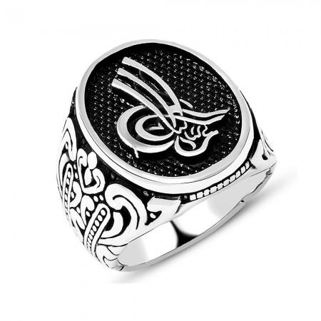 Tesbihane - Osmanlı Figür Desenli Oval Tuğra Motifli 925 Ayar Gümüş Erkek Yüzük