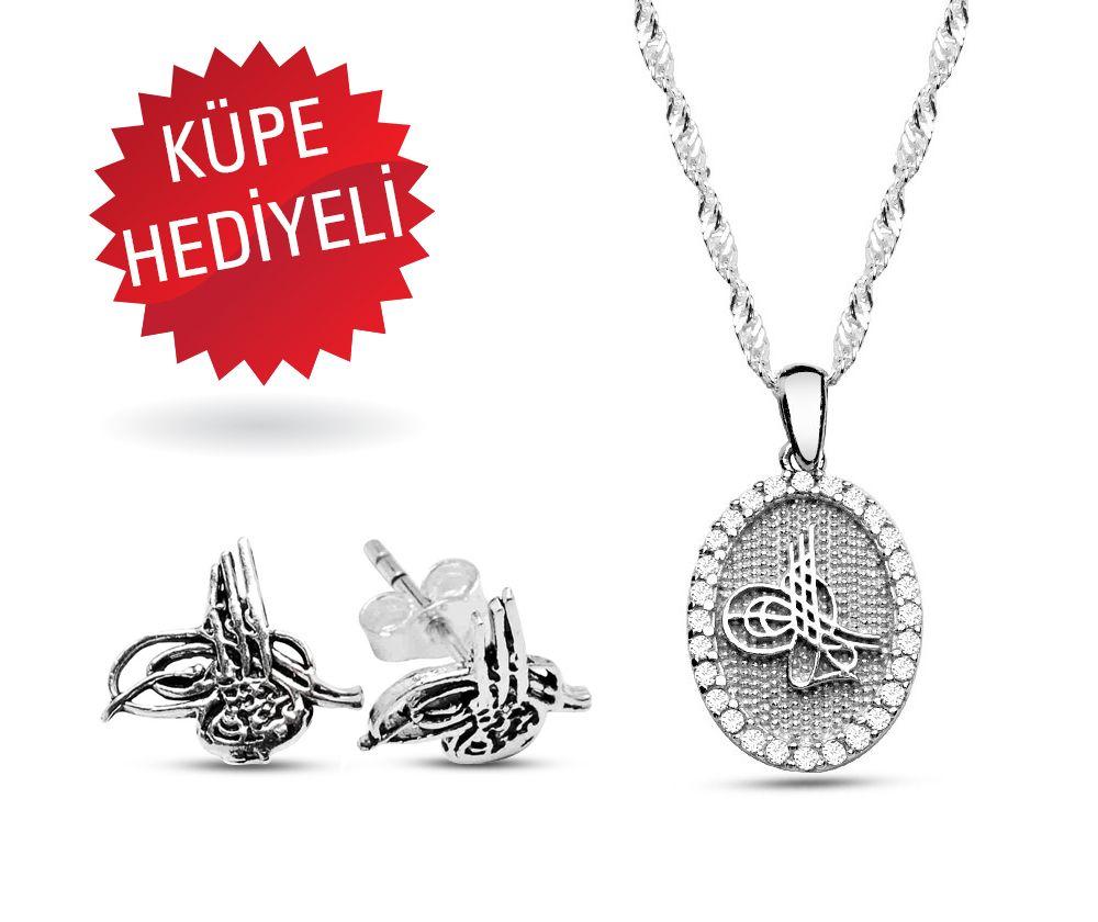 925 Ayar Gümüş Tuğralı Kolye ve Küpe Seti