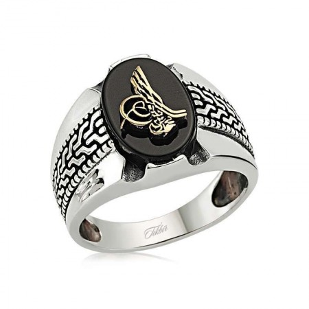 925 Ayar Gümüş Tuğralı Oniks Taşlı Yeni Tasarım Yüzük - Thumbnail