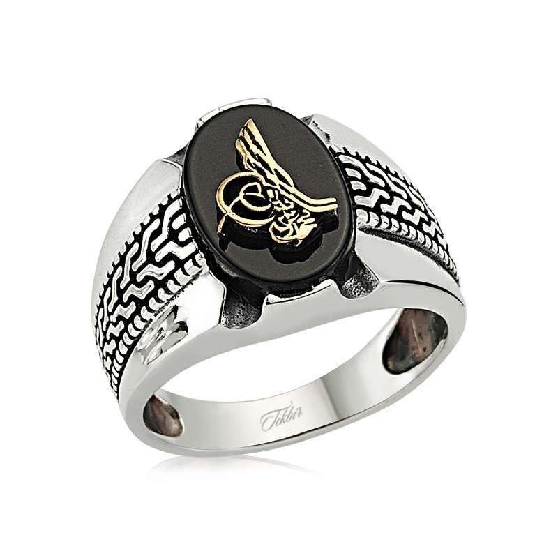 925 Ayar Gümüş Tuğralı Oniks Taşlı Yeni Tasarım Yüzük