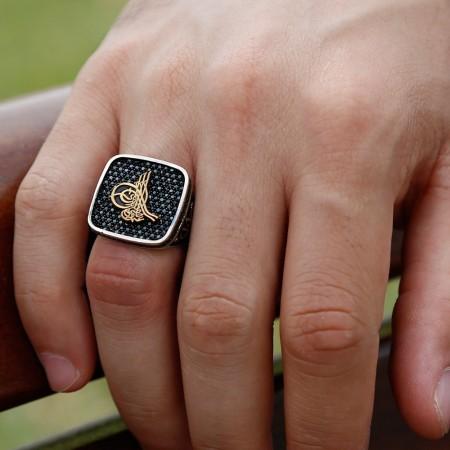 Tesbihane - 925 Ayar Gümüş Tuğralı Vatan Millet Yüzüğü