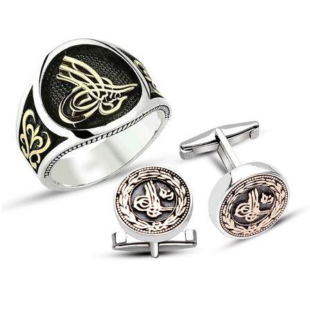 Tesbihane - 925 Ayar Gümüş Tuğralı Yüzük - Kol Düğmesi Kombini