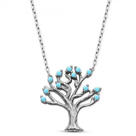 Tesbihane - 925 Ayar Gümüş Turkuaz Taşlı Ağaç Kolye