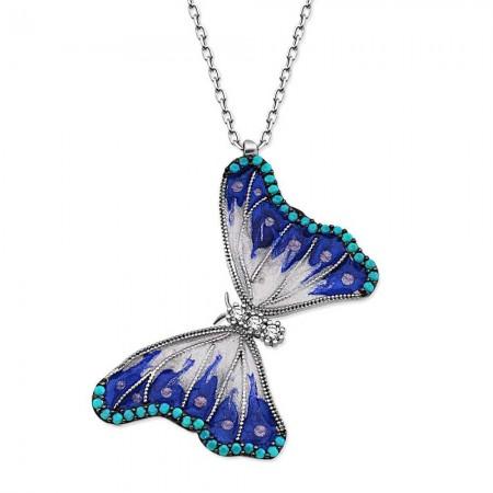 Tesbihane - 925 Ayar Gümüş Turkuaz Taşlı Benekli Kelebek Kolye