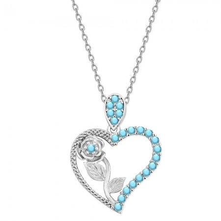Tesbihane - 925 Ayar Gümüş Turkuaz Taşlı Kalbimin Gülü Kolye