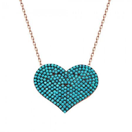 - 925 Ayar Gümüş Turkuaz Taşlı Kalp Model Kolye (Model-2)