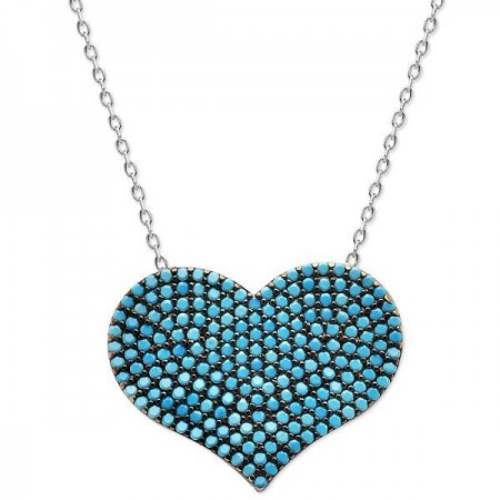 Tesbihane - 925 Ayar Gümüş Turkuaz Taşlı Kalp Model Kolye