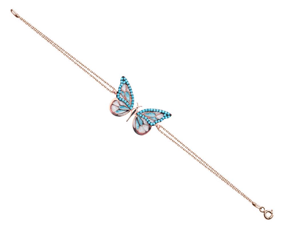 925 Ayar Gümüş Turkuaz Taşlı Kelebek Bileklik