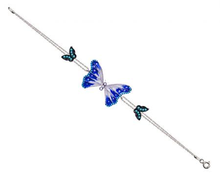 Tesbihane - 925 Ayar Gümüş Turkuaz Taşlı Mavi Beyaz Mineli Kelebek Bileklik
