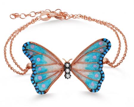 Tesbihane - 925 Ayar Gümüş Turkuaz Taşlı Mavi Kelebek Bileklik
