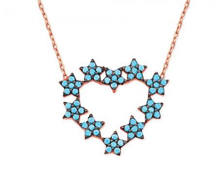Tesbihane - 925 Ayar Gümüş Turkuaz Yıldız Tasarım Kalp Kolye