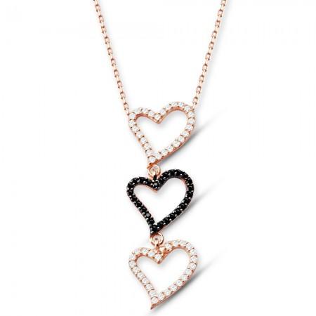 - 925 Ayar Gümüş Üç Kalp Kolye (SRD00105)