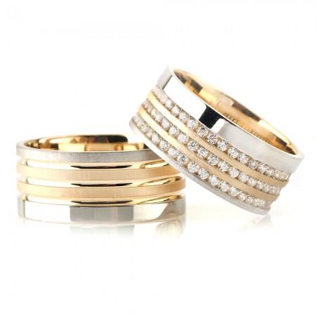 - Üç Şerit Tasarım Gri-Gold Renk 925 Ayar Gümüş Çift Alyans
