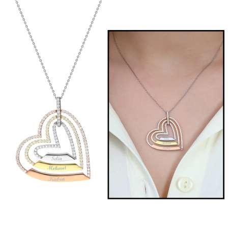 Tesbihane - Üç Kalp Tasarım Kişiye Özel İsim Yazılı 925 Ayar Gümüş Bayan Kolye