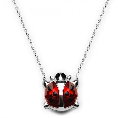 Tesbihane - 925 Ayar Gümüş Uğur Böceği Kolye