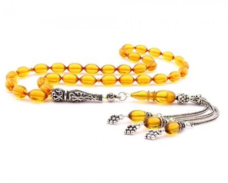 Tesbihane - 925 Ayar Gümüş Üzüm Salkımı Püskül Sarı Sıkma Kehribar Tesbih
