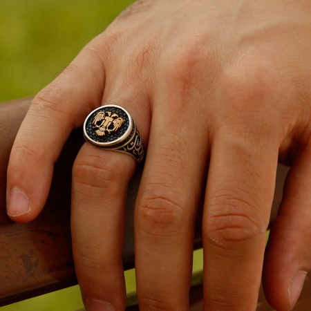 Tesbihane - 925 Ayar Gümüş Vatan Millet Yüzüğü(selçuklu Kartalı)