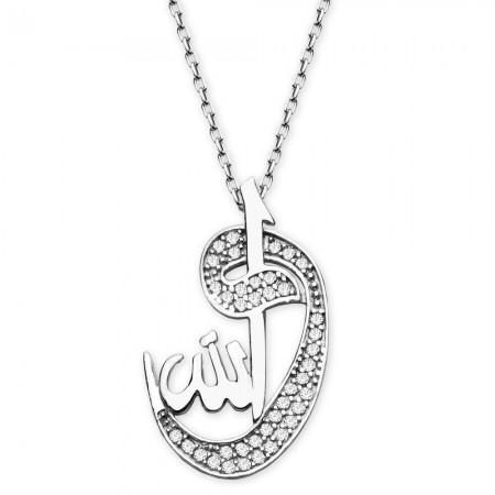 Tesbihane - 925 Ayar Gümüş Vav-Allah Model Kolye