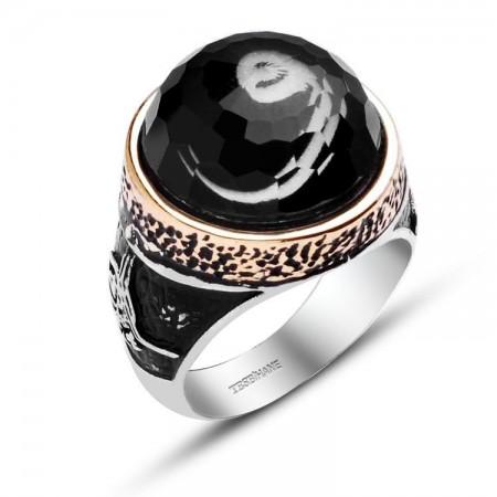 Tesbihane - 925 Ayar Gümüş Vav Harfli Tuğra Model Yüzük
