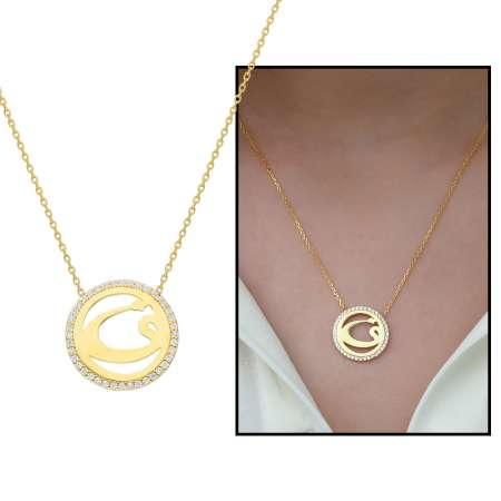 Tesbihane - Beyaz Zirkon Taşlı Vav Tasarım 925 Ayar Gümüş Bayan Kolye
