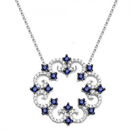Tesbihane - 925 Ayar Gümüş Vav Model Mavi Beyaz Zirkon Taşlı Kolye