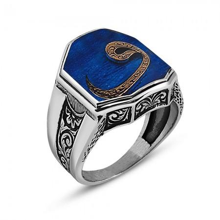 - 925 Ayar Gümüş Vav Yazılı Mavi Mineli Cedid Yüzük