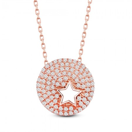Tesbihane - Beyaz Zirkon Taşı Venüs Yıldızı Tasarım 925 Ayar Gümüş Bayan Kolye