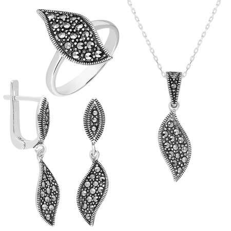 Tesbihane - Zirkon Taşlı Yaprak Tasarım 925 Ayar Gümüş 3'lü Takı Seti