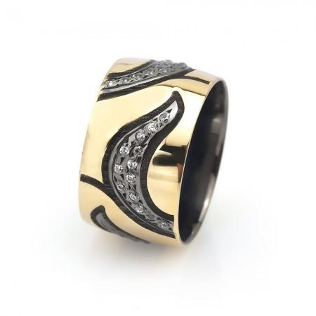 Tesbihane - Yaprak Tasarım Zirkon Taşlı 925 Ayar Gümüş Bayan Alyans