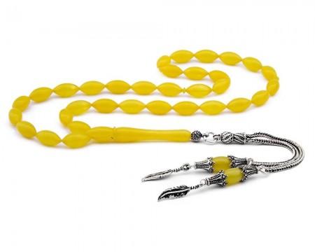 Tesbihane - 925 Ayar Gümüş Yaprak Püsküllü Sarı Sıkma Kehribar Tesbih
