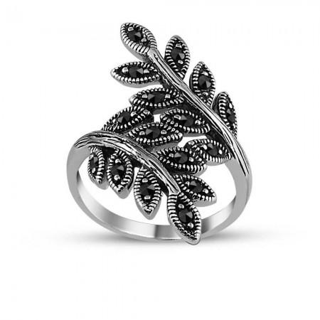 Tesbihane - 925 Ayar Gümüş Yaprak Sarmal Yüzük
