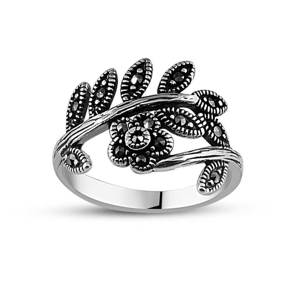 925 Ayar Gümüş Yapraklı Çiçek Yüzük