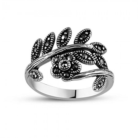 Tesbihane - 925 Ayar Gümüş Yapraklı Çiçek Yüzük