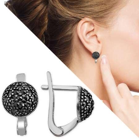Tesbihane - Siyah Zirkon Taşlı Yarım Küre Tasarım 925 Ayar Gümüş Küpe
