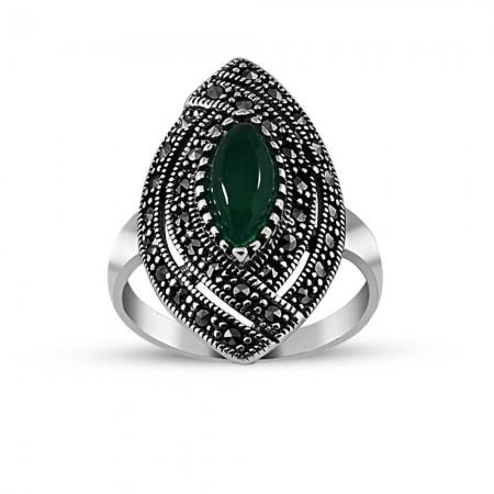 Tesbihane - 925 Ayar Gümüş Yeşil Akik Taşlı Bayan Yüzük