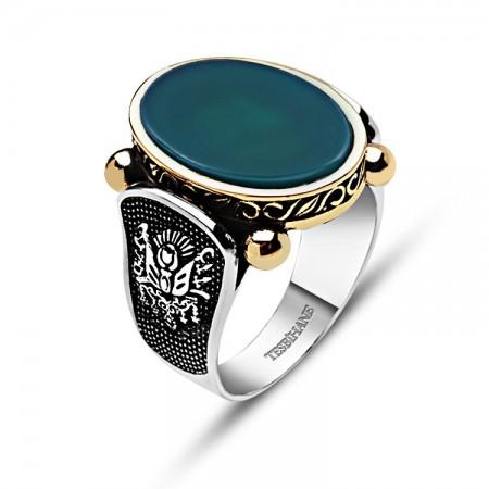 - 925 Ayar Gümüş Yeşil Akik Taşlı Osmanlı Tuğralı Yüzük