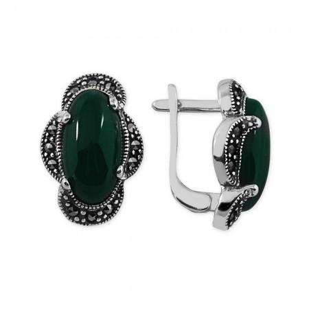 - 925 Ayar Gümüş Yeşil Akik Taşlı Özel Tasarım Küpe