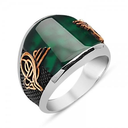 - 925 Ayar Gümüş Yeşil Akik Taşlı Tuğralı Yüzük