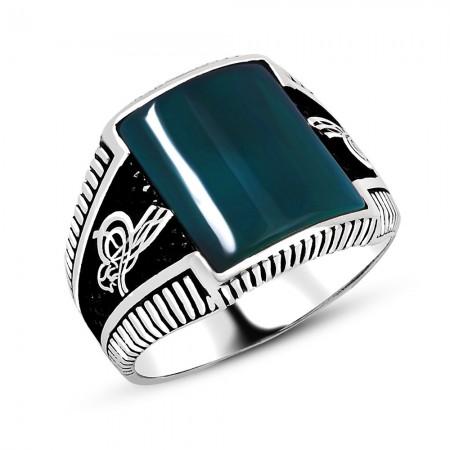 Tuğra İşlemeli Yeşil Akik Taşlı 925 Ayar Gümüş Erkek Yüzük - Thumbnail
