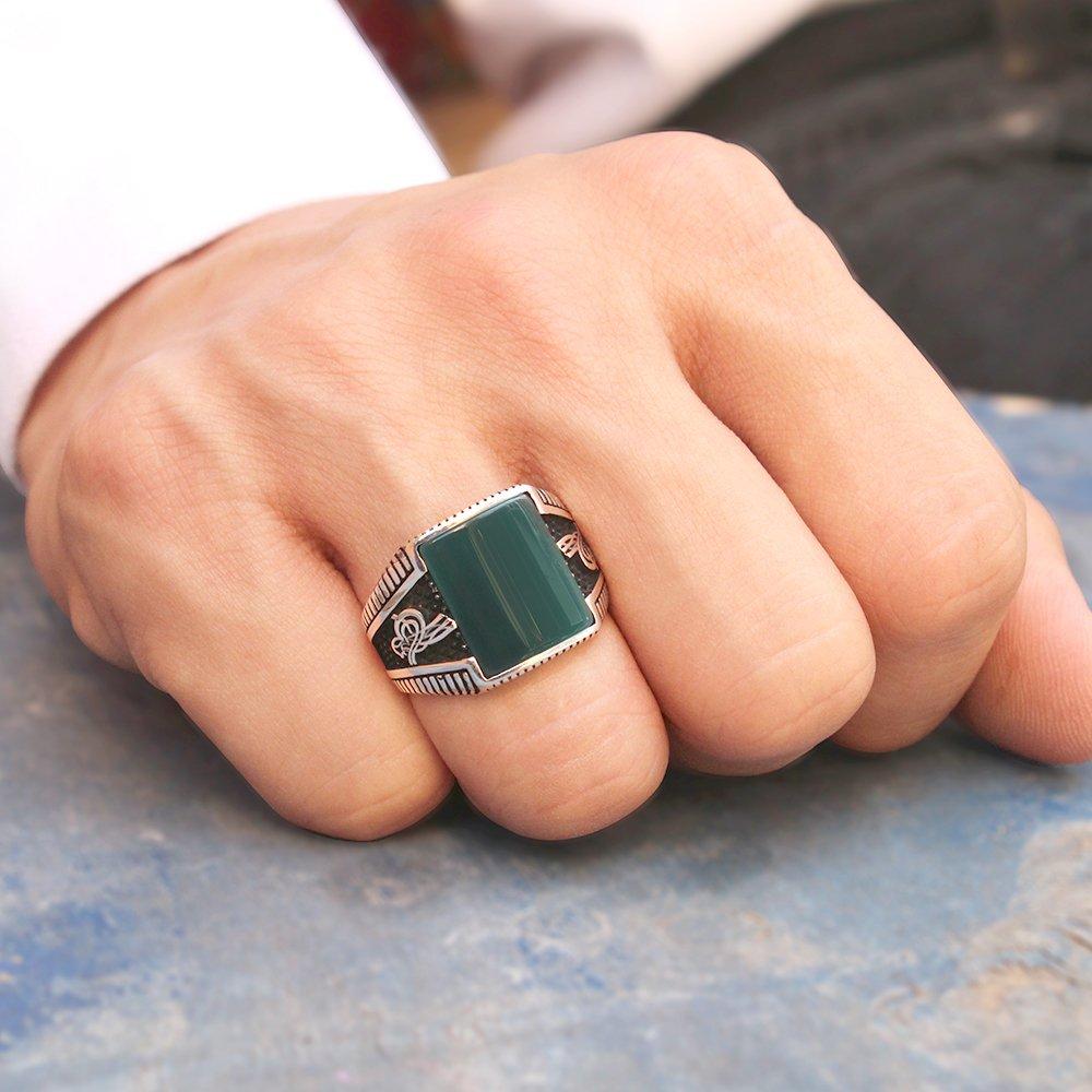 Tuğra İşlemeli Yeşil Akik Taşlı 925 Ayar Gümüş Erkek Yüzük