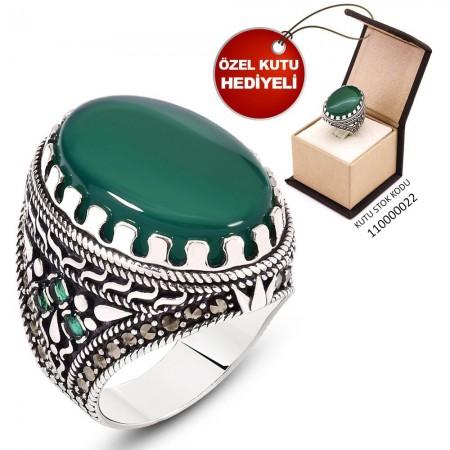 Tesbihane - Kutu Hediyeli Yeşil Akik Taşlı 925 Ayar Gümüş Erkek Yüzük