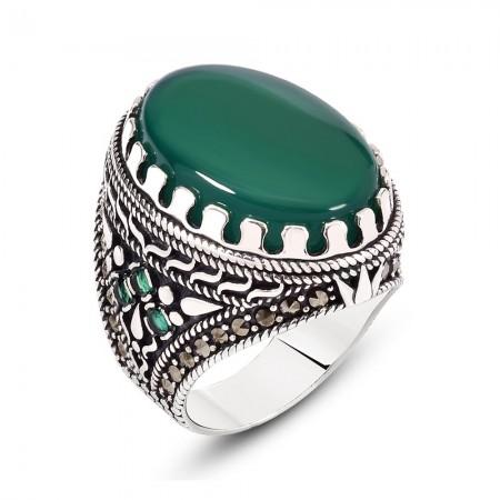 925 Ayar Gümüş Yeşil Akik Taşlı Yüzük - Hediye Kutulu - Thumbnail