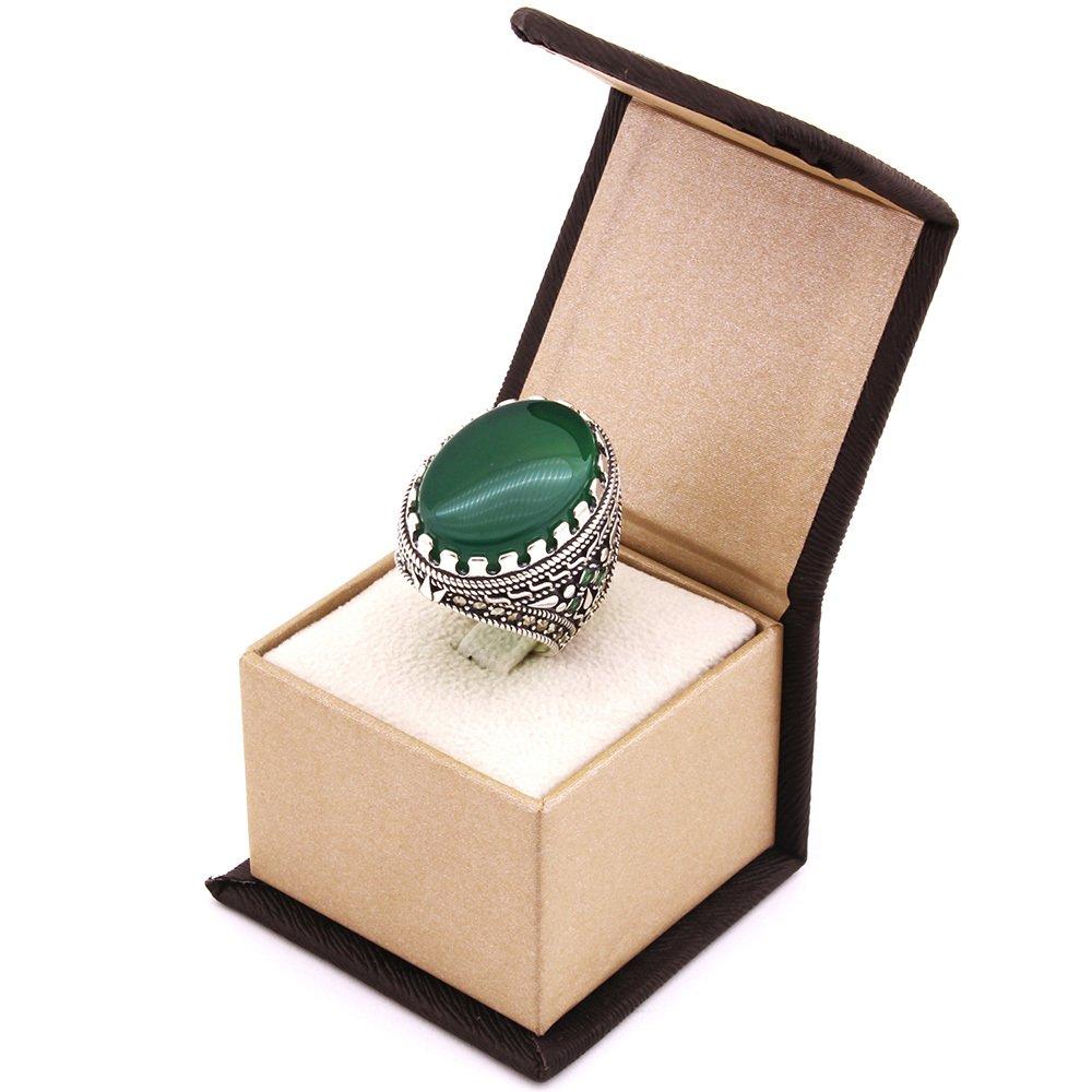 Kutu Hediyeli Yeşil Akik Taşlı 925 Ayar Gümüş Erkek Yüzük
