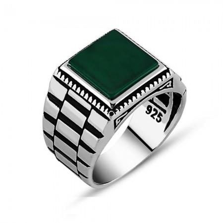 Tesbihane - Simetrik Desenli Yeşil Akik Taşlı 925 Ayar Gümüş Erkek Yüzük