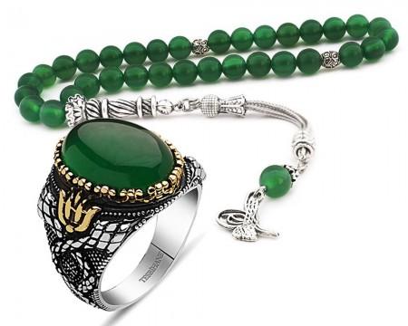 - 925 Ayar Gümüş Yeşil Akik Taşlı Yüzük ve Küre Kesim Akik Tesbih Kombini