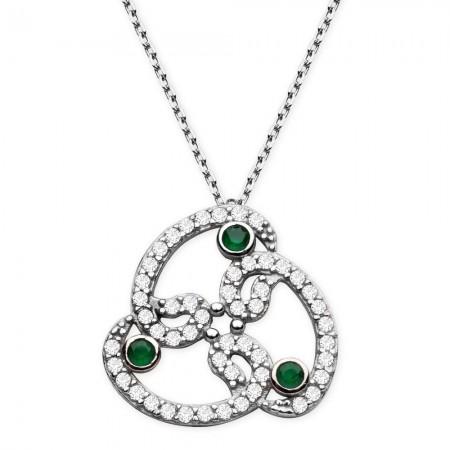 Tesbihane - 925 Ayar Gümüş Yeşil Beyaz Zirkon Taşlı Vav Kolye