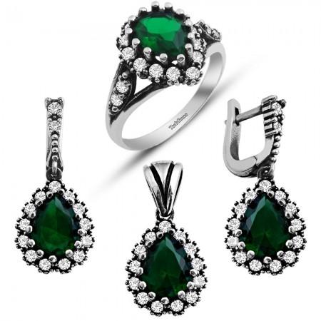 - 925 Ayar Gümüş Yeşil Beyaz Zirkonlu Set (BSR0028)