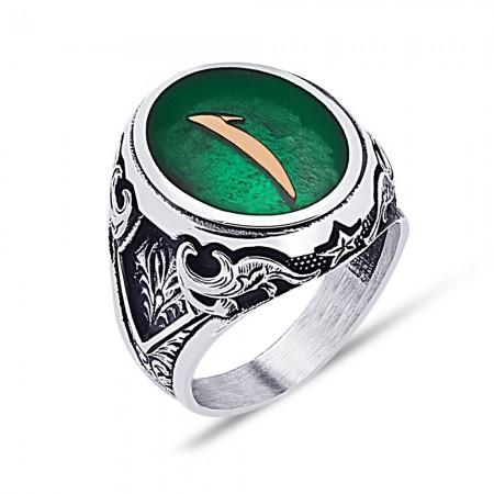 Tesbihane - 925 Ayar Gümüş Yeşil Mine Üzerine Elif Desen Yüzük