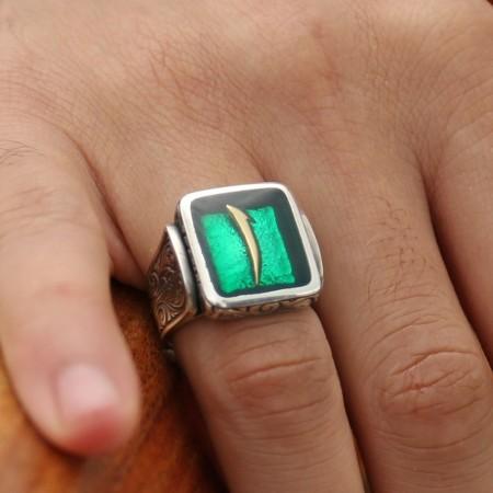 Tesbihane - 925 Ayar Gümüş Yeşil Mine Üzerine Elif Harfli Kare Yüzük