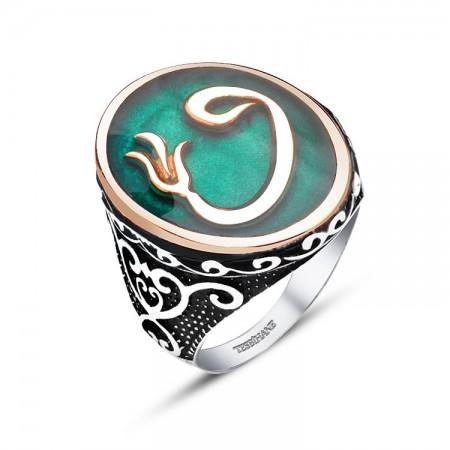 Tesbihane - 925 Ayar Gümüş Yeşil Mine Üzerine Lale Vav Tasarım Yüzük